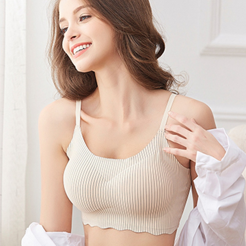 Bras For Women Fashion Soutien Gorge Femme Sleep With Chest Pad No Trace Striped Sujetador Mujer Ice Sexy Bra Tube Top