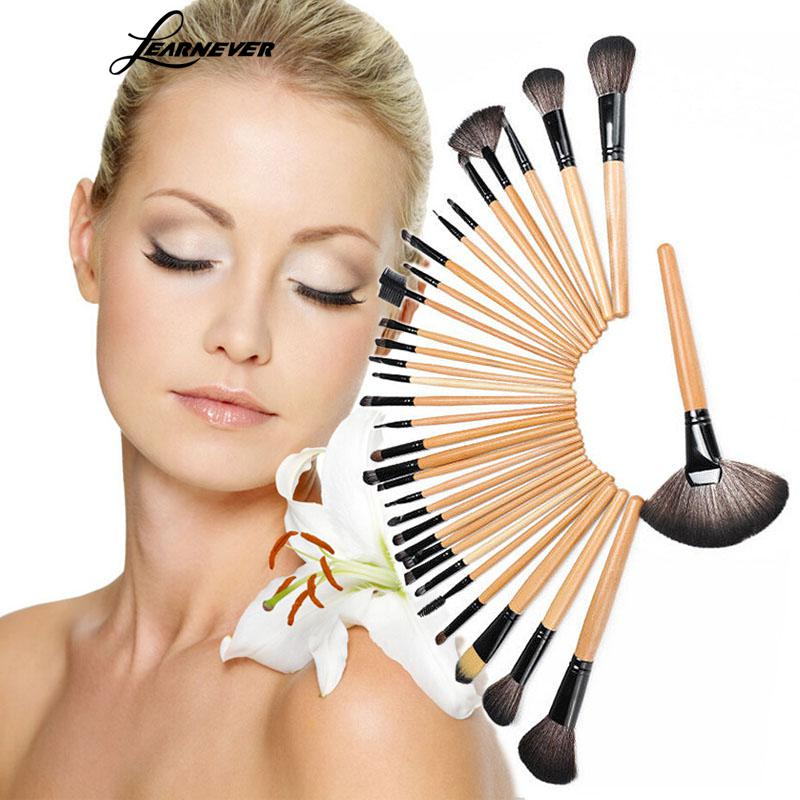 LEARNEVER 32Pcs Cosmetic Makeup Brushes Set Bulsh Powder Foundation Brush Eyeshadow Eyeliner Lip Brush Beauty Tools Maquiagem new 32 pcs makeup brush set powder foundation eyeshadow eyeliner lip cosmetic brushes kit beauty tools fm88