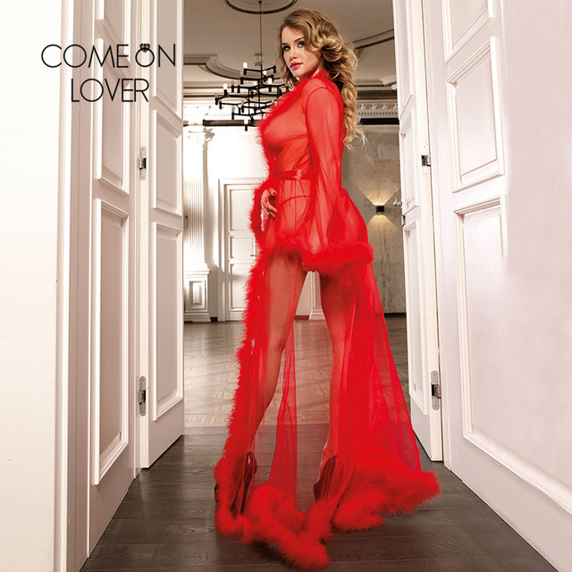 Come on lover Woman's Plus Size Lingerie Sexy Long Sleeve See Through  Dress