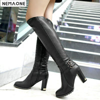 NEMAONE winter snow boots ladies wool inside Knight boots women high heeled knee high boots zipper large size 43