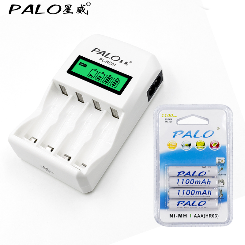 Intelligent LCD display charger with 4 Slots for AA/<font><b>AAA</b></font> <font><b>Battery</b></font> Charger+4pcs <font><b>aaa</b></font> 1100mah NiMh Batteria rechargeable <font><b>battery</b></font> image