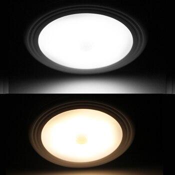 PIR Motion Sensor LED Night Light Wireless Battery Activated Detector Closet Lights Hallway Bedroom Kitchen Wall Ceiling Lamp