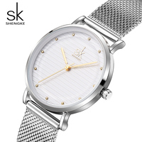 Shengke Brand Luxury Women Quartz Watches Stainless Steel Wristwatch Ladies Clock Relojes Mujer 2018 SK Women