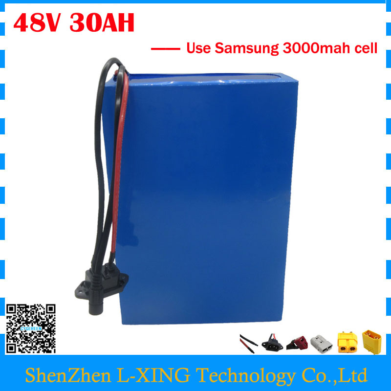 Free customs duty 48V bicycle battery 48V 30AH scooter battery 30AH Lithium battery use Samsung 3000mah cell 30A BMS free customs taxes super power 1000w 48v li ion battery pack with 30a bms 48v 15ah lithium battery pack for panasonic cell