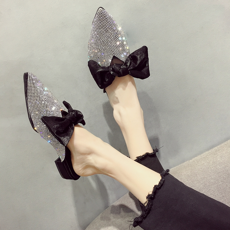 Pointed toe slippers crystal bowknot shoes woman low heels anti-skid slides shallow mules casual flipflops cute femme summer new 7