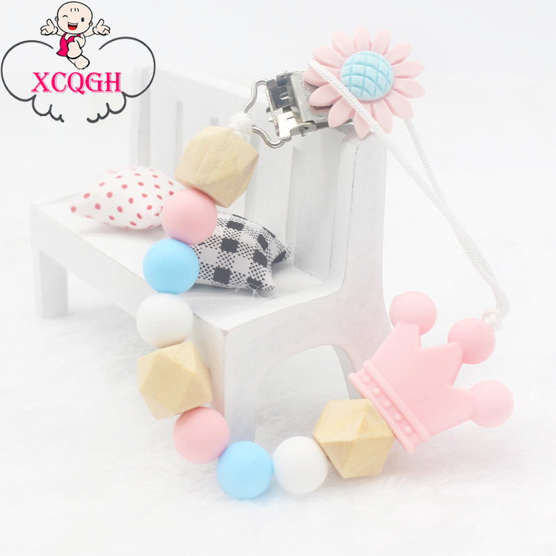 XCQGH Silicone Beads Crown Pendant Newborn Infant Toddler Boy Girl Pacifier Clip Chain Silicone Pacifier Holder