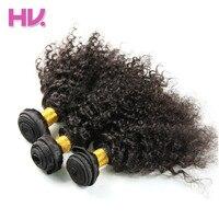 Haar Villa Pre-Gekleurde Maleisische Menselijk Haar Kinky Krullend 3 Bundels Hair Extensions # 1B/Natuurlijke Kleur 8-30 Inches Gratis Verzending