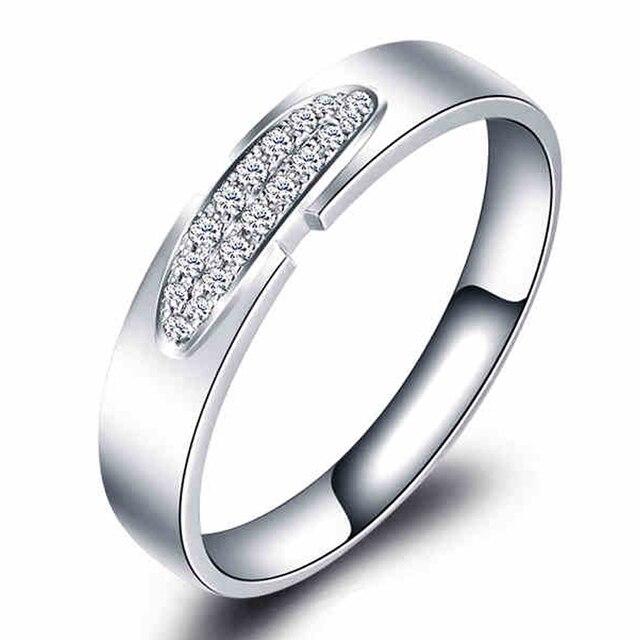 Модные Проложить Множество Любителей Кольцо С Бриллиантом 14 К 585 Белое Золото 0.1ct мужская Diamond Обручальное Кольцо Для Него И для Нее Любители Promise Ring