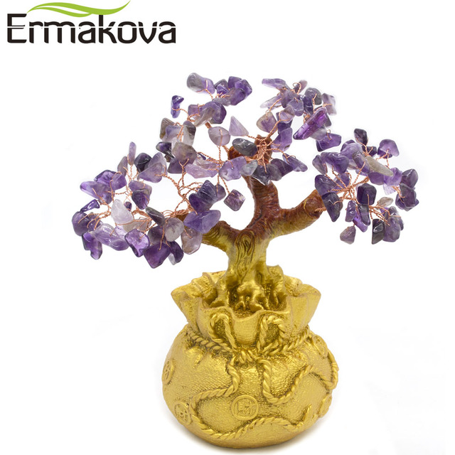 ERMAKOVA 6.7 Inch Tall Mini Crystal Money Tree Bonsai Style Wealth Luck Feng Shui Bring Wealth Luck Home Decor Birthday Gift 6