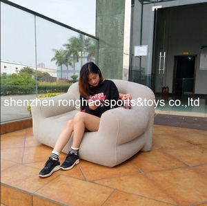 Image 2 - New Design Flocked PVC Inflatable Living Sofa Lounge Air Chair With Cup Holder Indoor Outdoor Double Seat Person Sofas