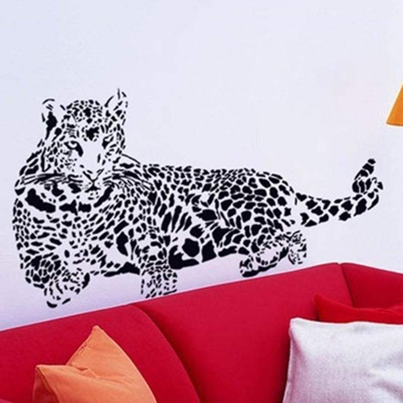 2016 New Removable Delicate Leopard Car Sticker 3D Animal Office Wall  Sticker Wall Decoration Black Color Free Shipping