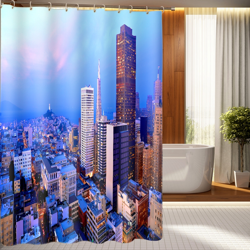 3d Architecture Shower Curtains City Night Scene Pattern Bathroom Curtain Waterproof Thickened Bath Curtain Customizable