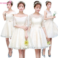 Girls Short Champagne Lace Sleeved Modest Country Style Bridesmaid Dress Party Ball Gown Dresses With Half