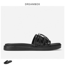 Dreambox Thick Bottom Fashion Slippers Mens Leather Trend Outdoor Sandals Summer New Style