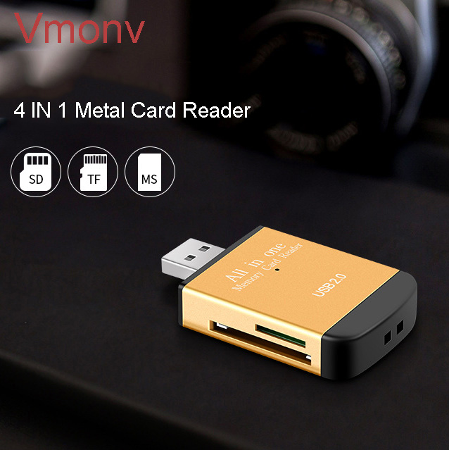 Vmonv Multi In 1 Memory SD Card Reader For Memory Stick Pro Duo Micro SD,TF,MMC,SDHC MS Card Reader A Variety Of Colors For Pc