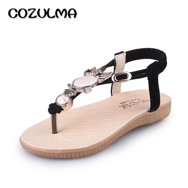 COZULMA Little Kids Big Kids Cute Owl Sandals Girls Summer Shoes Child  Rhinestone Flip Flops 2017 New Summer Shoes EU Size 26-36 33170f837bc4