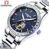 2017 CARNIVAL Luxury Brand Mechanical Watch Women Bracelet Waterproof Sapphire Mirror Stainless Steel Automatic Watches