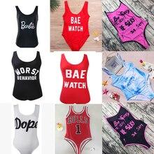 M&M Be Sexy Letter One Piece Swimsuit 2018 Padded Bathing Suits Women Summer Beach Swim Wear Monokini Tong Mailot De Bain Femme