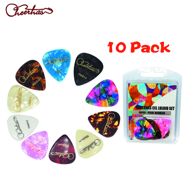 Cheerhas pearloid celluloid pearl guitar pick plectrum with mixed thin medium heavy thickness