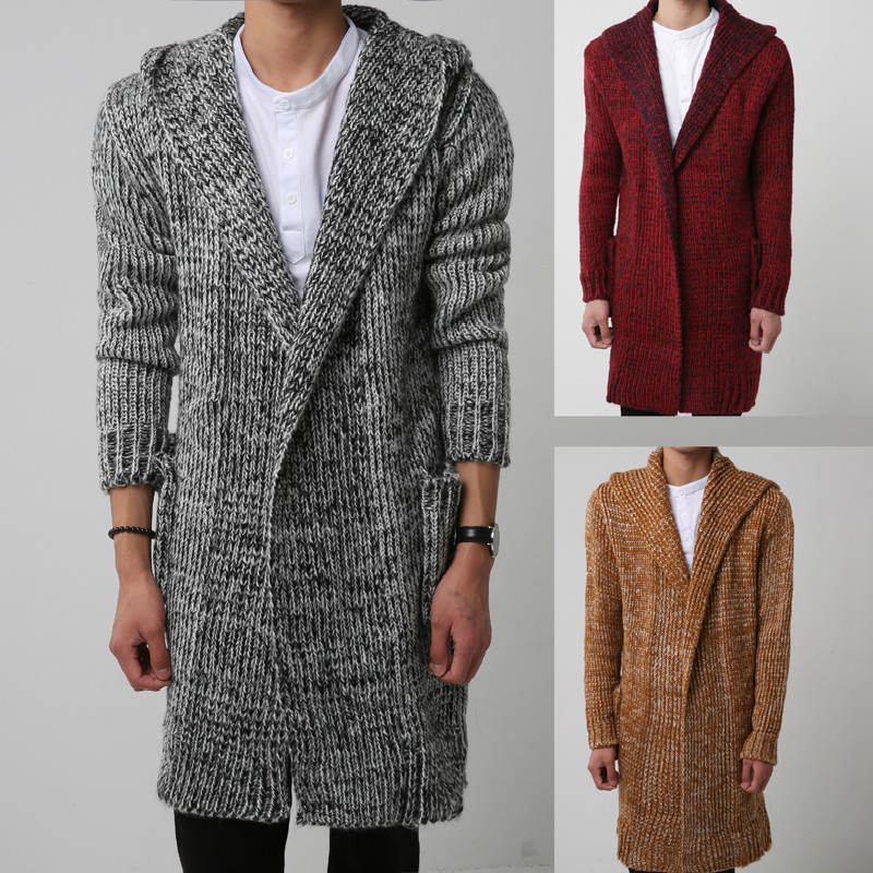 YASUGUOJI Casual Coarse Wool Thicken Long Winter Mens Sweaters Hooded Warm Mens Cardigan Sweater Knitted Chirstmas Men Sweather