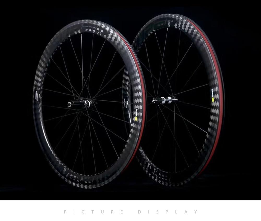 12K Twill Wheel Carbono Road Bike Wheels 25mm Width 50mm Depth Tubular Clincher Carbon Bicycle Wheels