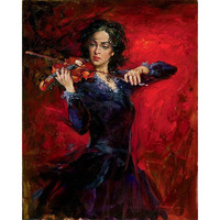 Hand Painted Girl Dressing Black Skirt Playing The Violin Still Life Canvas Handmade Oil Painting