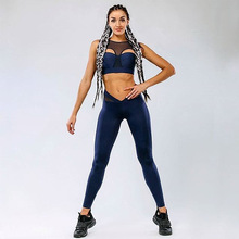 3c2beae489a 2018 Women Yoga Sets Vest Fitness Suit GYM Wear Workout Clothing Running  Slim Leggings Pilate Sport