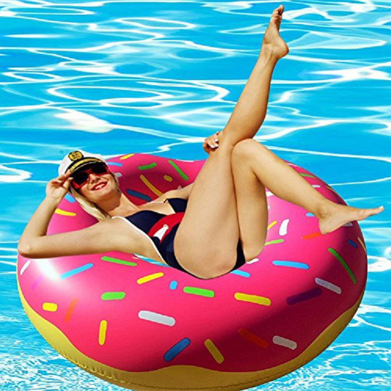 Rooxin Inflatable Donut Swimming Ring for Pool Float Mattress Swimming Pool Thickened PVC Summer Floating Ring Seat Toys
