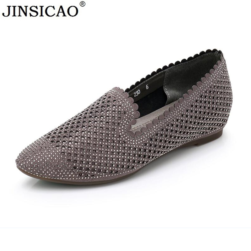 Women Flats Casual Pointed Toe Spring Autumn Lazy Loafers Crystal Design Brand Women Shoes Cow Leather