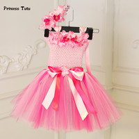 Princess Baby Girl Dress Pink Tulle Tutu Dress Flowers Newborn Toddler Christening Gown Baby Dress For