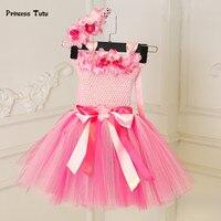 Princess Baby Girl Dress Pink Tulle Tutu Dress Flowers Newborn Toddler Christening Gown Baby Dress For