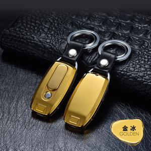 Image 5 - 2018 New Keychain Cigarette Turbo Lighter Metal USB Lighter Rechargeable Electronic Lighter Leather Key Chain Cigar Palsma