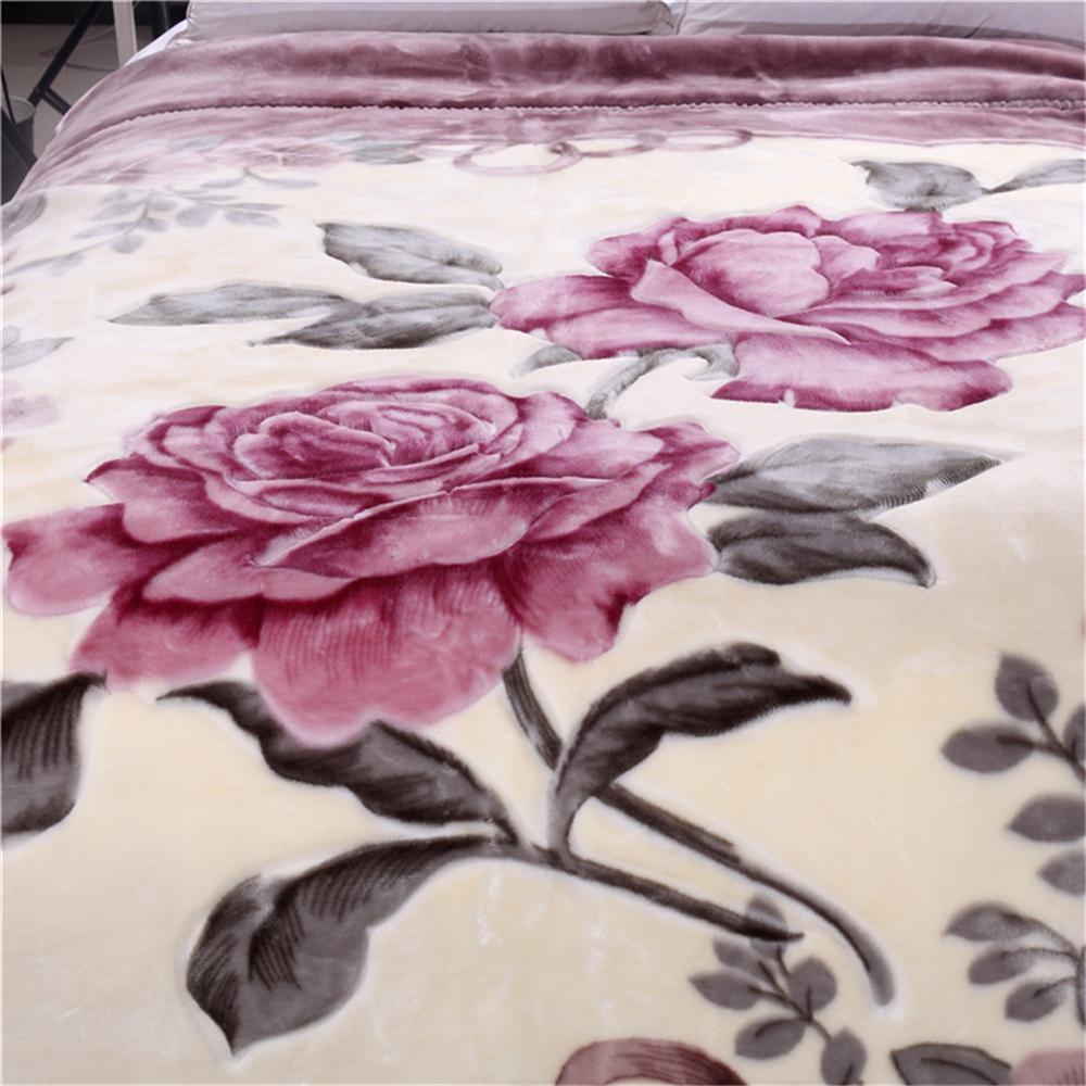 Double Layer Queen Size Fluffy Chunky Large Mink Blanket Super Soft Floral Printed Raschel Throw Thick Warm Faux Fur Bed Blanket-in Blankets from Home & Garden    2