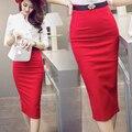 Saia lápis de Cintura Alta Plus Size Bodycon Apertado Moda Feminina Midi saia Jupe Femme Vermelho Preto de Fenda Saia de Moda das Mulheres S-5XL