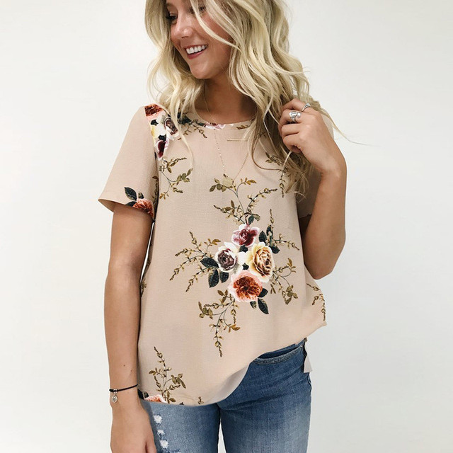 Casual Tops Tees Women Short Sleeve O Neck Floral Print T-shirt Female  White Chiffon