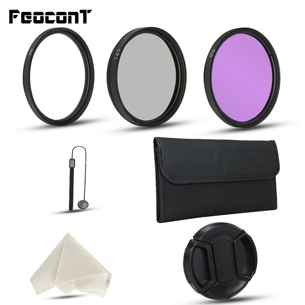 FeoconT Camera Lens Filter Kit for Nikon D3200 D5000 D5100 For Sony Canon Cameras with UV CPL FLD Filters Filters Pouch Lens Cap