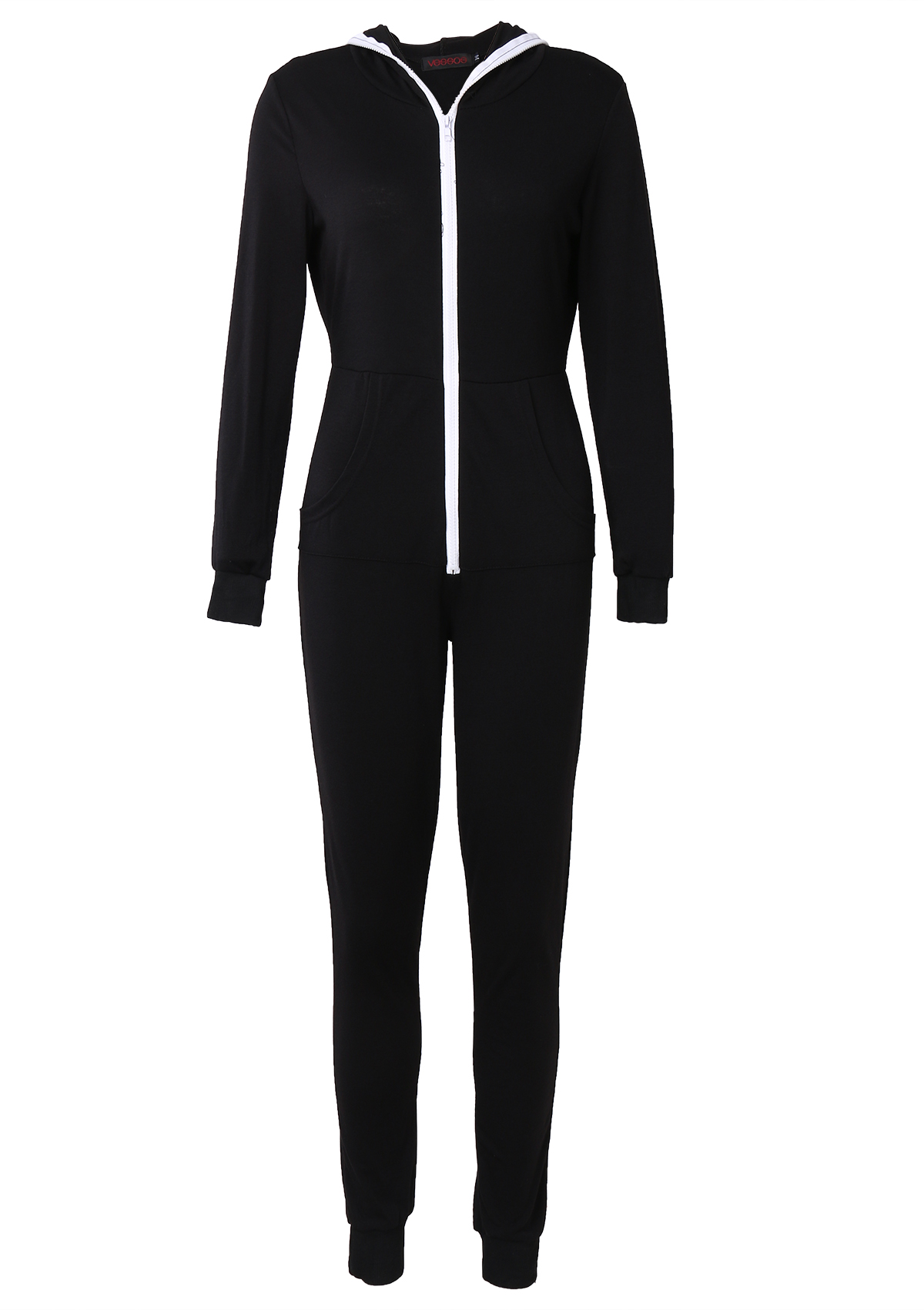 Women Casual Suit Bodysuit Long Sleeve Zipper Hooded ...
