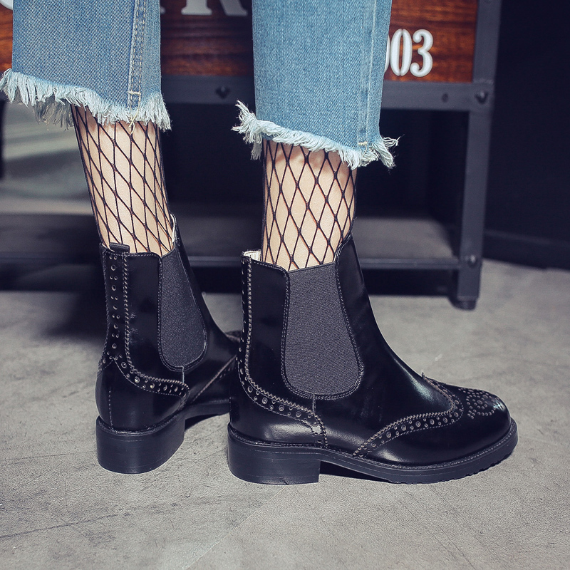 MNIXUAN Handmade chelsea boots women shoes genuine leather 2018new retro round toe elastic band carving medium heels ankle boots