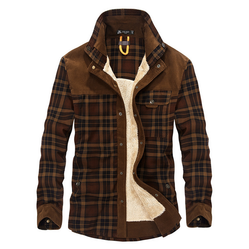 AFS JEEP Military Shirt Men Casual Shirts Winter Wool Fleece Thick Warm Plaid Corduroy Shirts Camisa masculina Chemise homme-in Casual Shirts from Men's Clothing    1