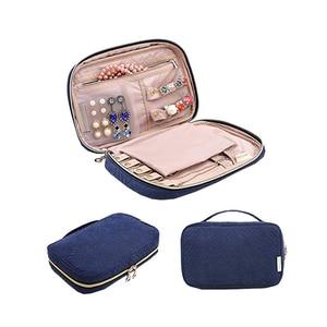 Image 1 - 휴대용 여성 메이크업 주최자 쥬얼리 스터드 귀걸이 목걸이 반지 팔찌 가방 여행 지퍼 케이스 액세서리 용품을 확인하십시오