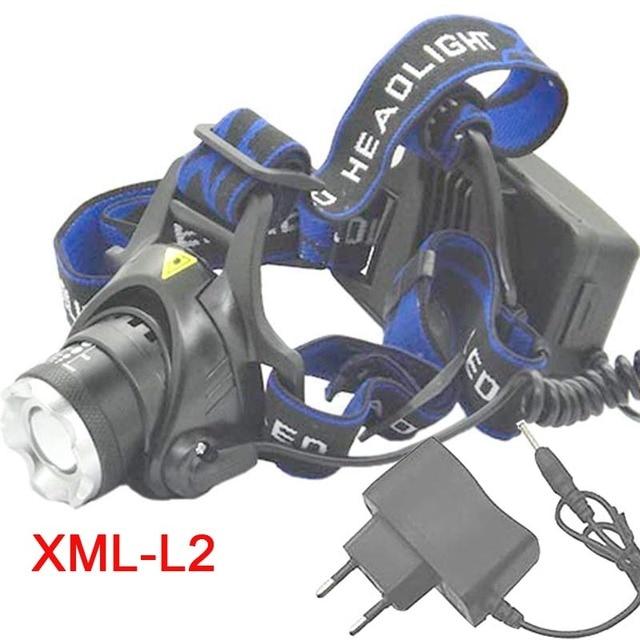 L2 ZOOM Head Light  XM-L2 LED Lamp  Lights 3 mode led light + AC charger