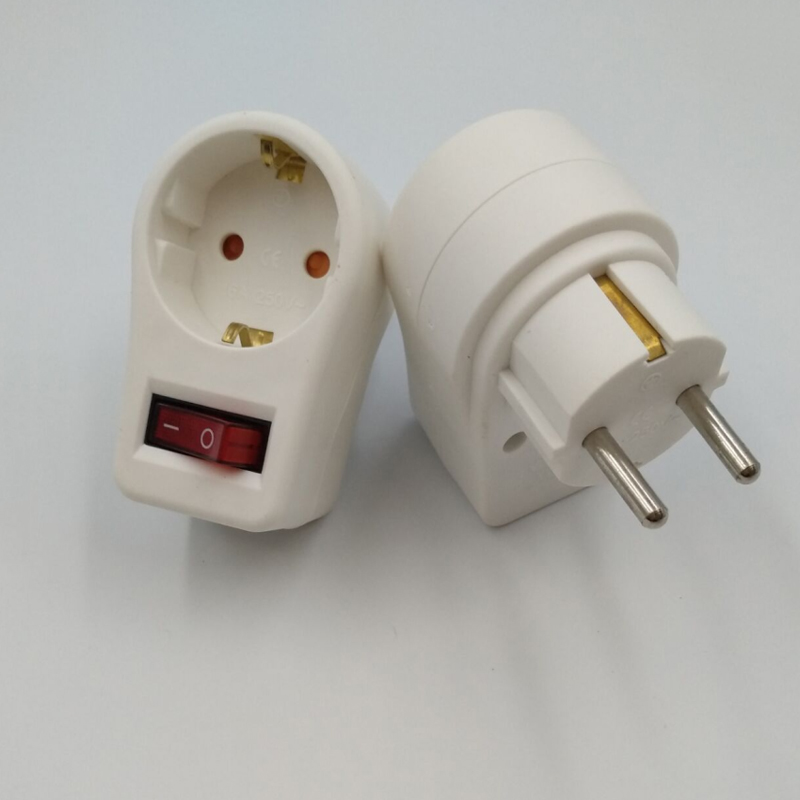 Punctual 2pcs European Conversion Plug German Conversion Socket With Independent Switch Power Switch Socket Electrical Sockets & Plugs Adaptors Consumer Electronics