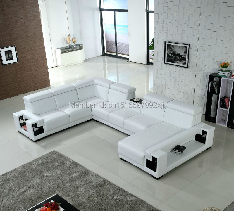 2016 Sofas For Living Room Sectional Sofa Chaise Armchair Living Room Furniture Home Sofa Set Big Size U Corner Shape Leather european laest designer sofa large size u shaped white leather sofa with led light coffee table living room furniture sofa
