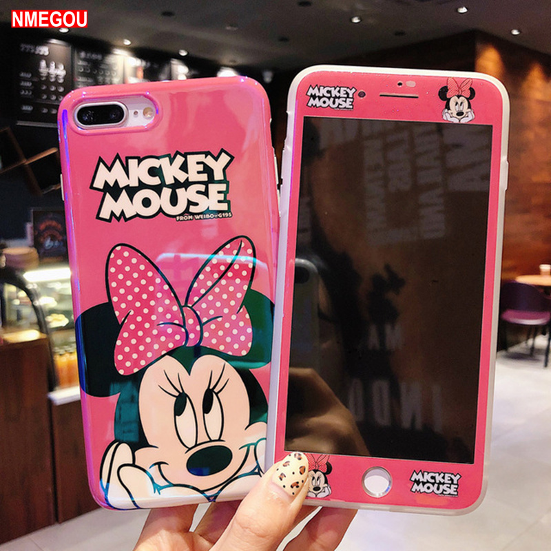 For IPhone 8plus Cute Daisy Donald Cover + Tempered Glass for IPone XR XS Max X 7 8 6 6s Plus Mickey Mouse Ears Case AccessoriesFor IPhone 8plus Cute Daisy Donald Cover + Tempered Glass for IPone XR XS Max X 7 8 6 6s Plus Mickey Mouse Ears Case Accessories