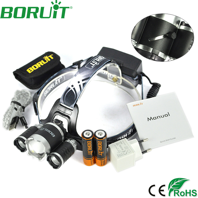 Boruit 8000LM 3 XM-L2 LED Headlamp Zoom 4-Modes Headlight USB Rechargeable Head Light Power Bank Torch Fishing Hunting Lamp 3x xm l l2 8000 lm rechargeable headlamp outdoor headlight linterna frontal for hunting 18650 battery charger usb cable