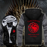 Game Of Thrones Targaryen Hoodie Sweater Shirt Winter Is Coming Unisex Zipper Jacket