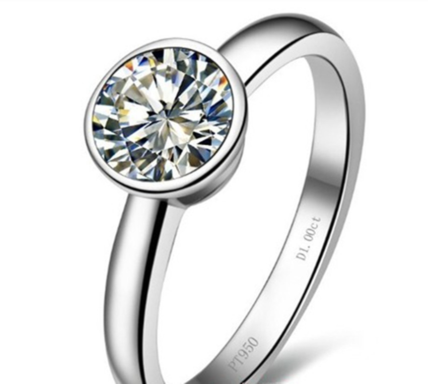 S925 Silver Solitaire Ring 1Ct 6.5mm Round Cut Moissanites Ring Solid 925 Sterling Silver Female Ring White Gold Color