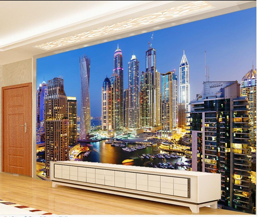 3d wallpaper for room Dubai night view living room ...