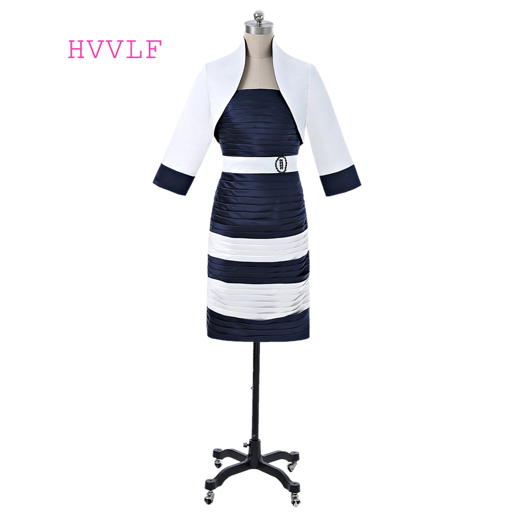 Navy Blue 2019 Mother Of The Bride Dresses Sheath Knee Length Short Wedding Party Dress Mother Dresses For Wedding With Jacket