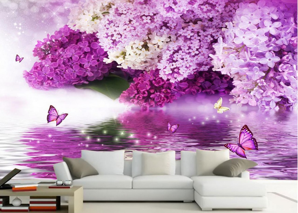 Us 126 58 Offpurple Flowers Water Reflection Butterfly Backdrop 3d Flower Wallpaper Landscape Home Decoration In Wallpapers From Home Improvement